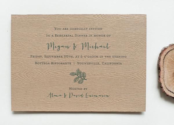 Nature Inspired Eco Friendly Letterpress Wedding Invitations