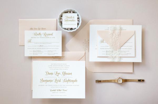Gold Flourishes Engraved Photos Of Wedding Invitations