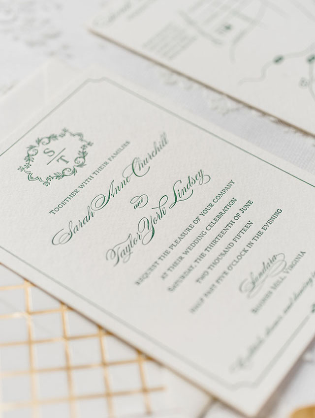 Green And Gold Foil Wedding Invitations