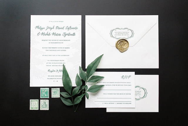 Green White Nature Inspired Letterpress Wedding Invitation