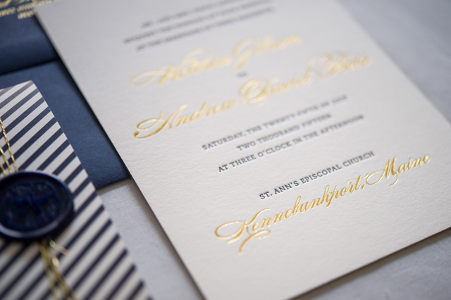 Preppy And Nautical Gold Foil Wedding Invitations By Gus Ruby Letterpress Photo Brea