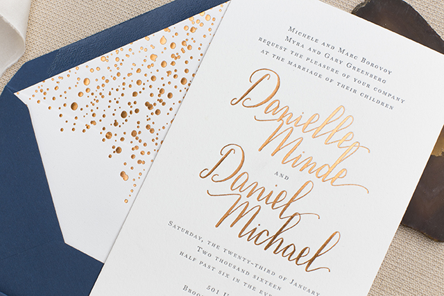 Copper Foil And Navy Calligraphy Wedding Invitations By Four Forty Oh So Beautiful Paper