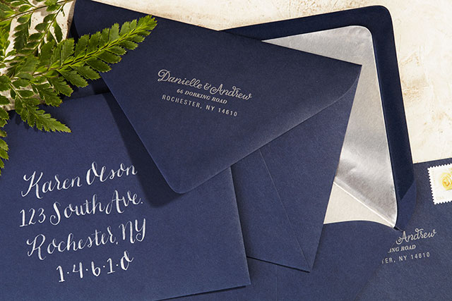 Navy And Silver Hand Painted Wedding Invitations By Sugar Type Oh So Beautiful Paper