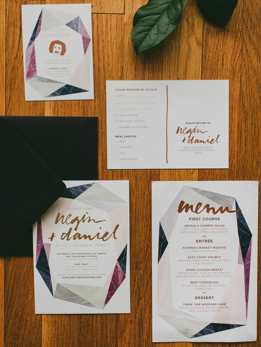 Modern Gemstone Copper Foil Wedding Invitations By And Here We Are