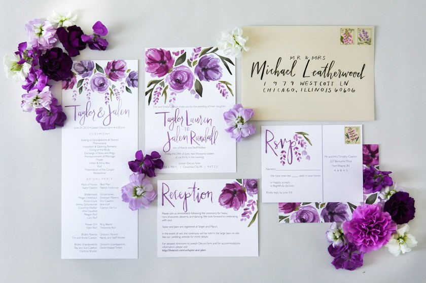 Vibrant Purple Fl Watercolor Wedding Invitations By Sommer Letter Co