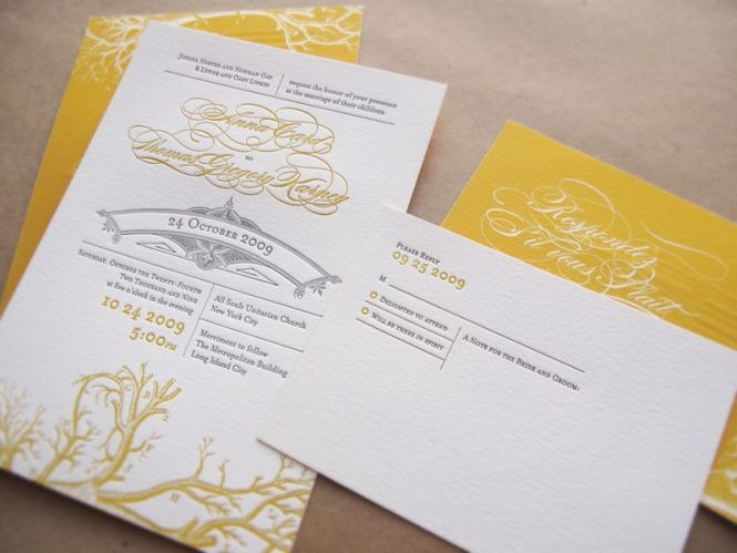 Wedding Invitations Yellow Gray Branches5
