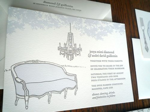Jenya André S Ilrated Chandelier Wedding Invitations
