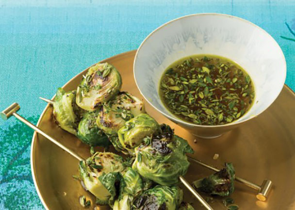 Roasted Brussels Sprouts Skewers with Lemon-Thyme Dipping Sauce