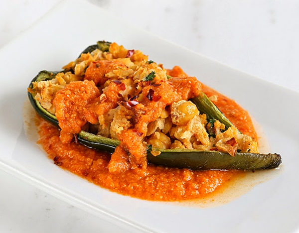 CHICKPEA STUFFED POBLANO PEPPERS WITH SMOKY TOMATO SAUCE