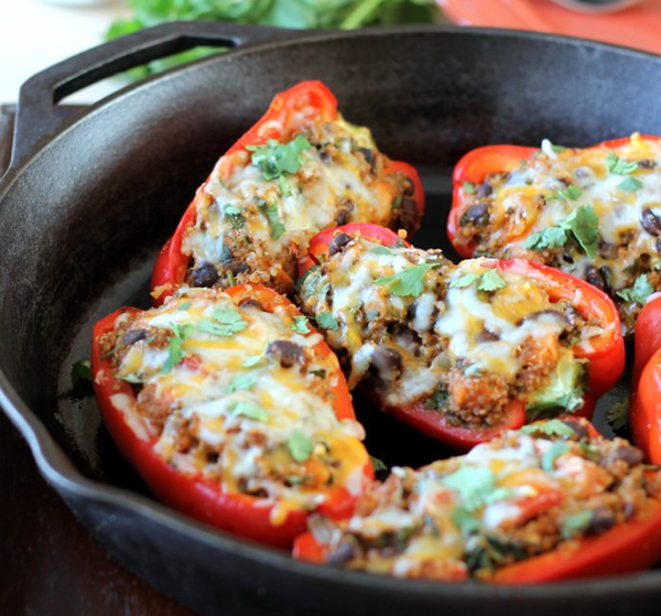 Black Bean, Sweet Potato, & Quinoa Stuffed Bell Peppers