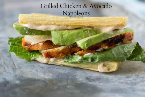 Grilled Chicken Avocado Napoleans with buttery puff pastry and creamy avocado served with spicy cayenne mayo ohsweetbasil.com_-