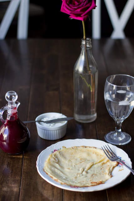Marionberry Strawberry Syrup served over the most delicious cream filled crepes. #Breakfast at our house is amazing. ohsweetbasil.com