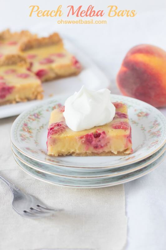 We love #peaches and raspberries in a peach melba #dessert so heck yes we loved the bars!! Creamy, fruity deliciousness on a graham cracker crust ohsweetbasil.com