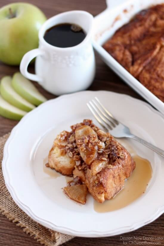 Apple French Toast Casserole by Dessert Now Dinner Later for OhSweetBasil.com