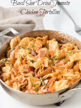 Everyone needs a good Italian recipe and this basil sun dried tomato chicken tortellini is the one after your heart, plus it's all in one pan!