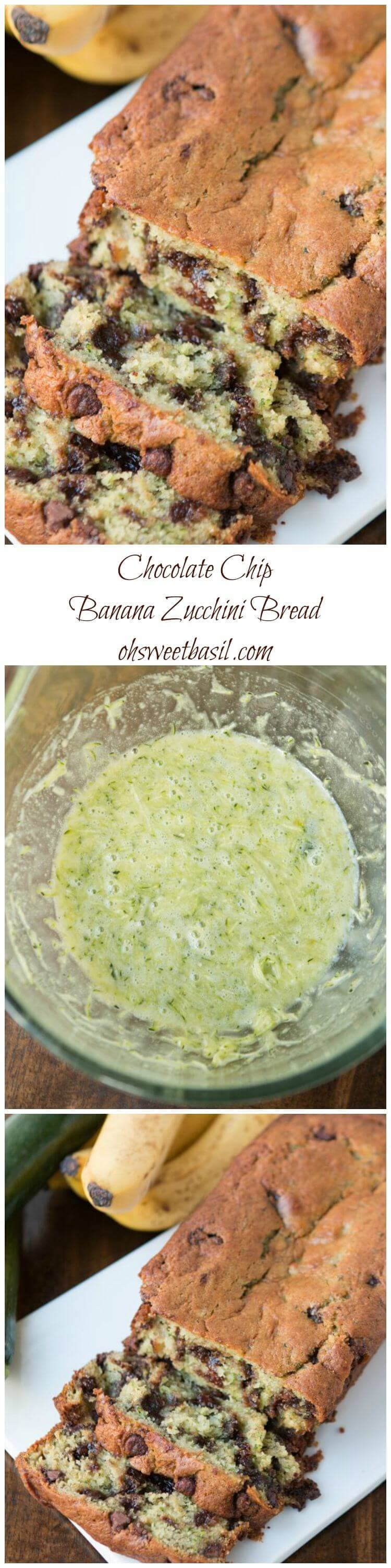 I may never make a regular banana bread again! This one is ridiculously moist and you'd never know there's zucchini in there because it's so fine! ohsweetbasil.com chcolate chip