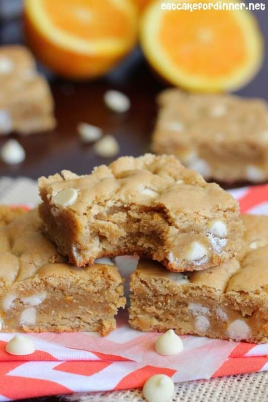 Orange Dreamsicle Chewy Cookie Bars