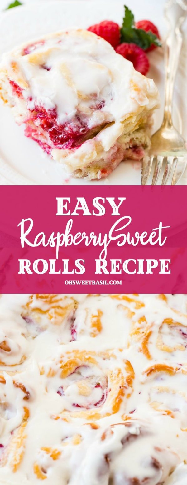 A frosted easy raspberry sweet roll on a white plate with a fork laying beside it and fresh raspberries next to it.