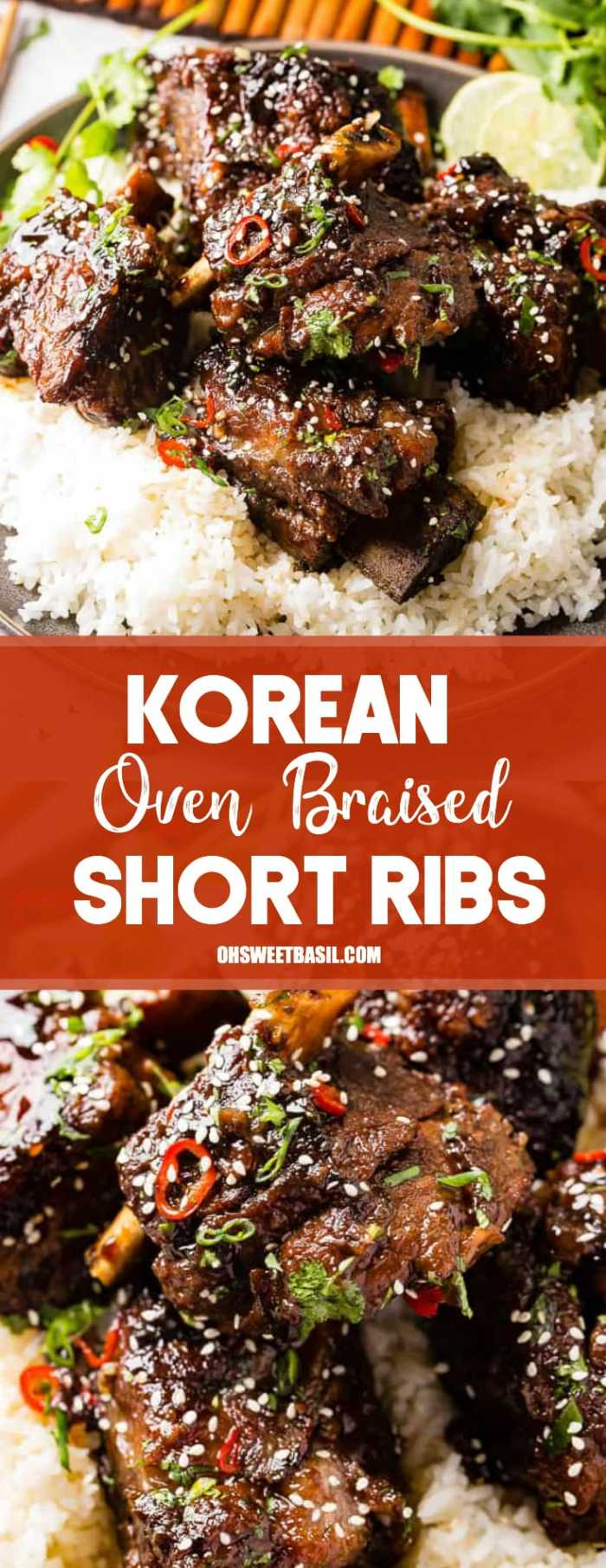 A photo of braised short ribs garnished with sesame seeds, cilantro, and red peppers on top of white rice on a gray plate.