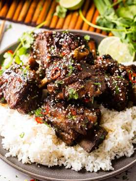 A photo of braised short ribs garnished with sesame seeds, cilantro, green onion and red chile peppers on top of white rice on a gray plate.