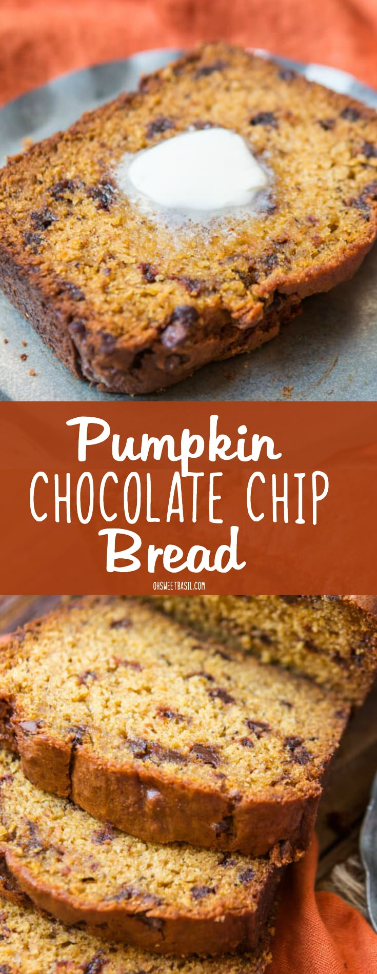 A slice of the most perfect chocolate chip pumpkin bread with melted butter on top