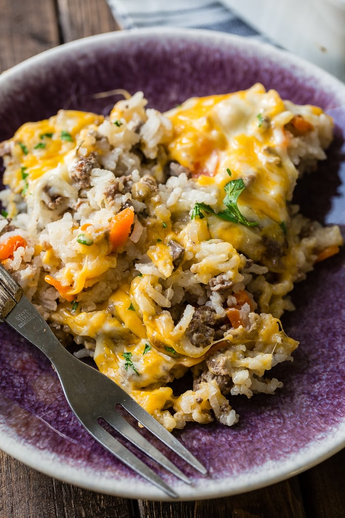 Cheesy Ground Beef and Rice Casserole | Oh Sweet Basil