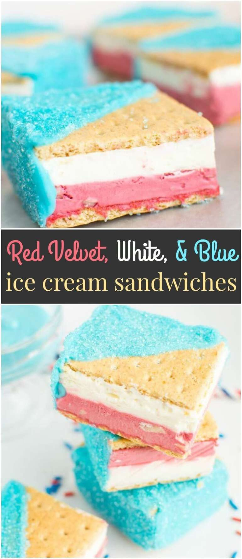 With a layer of no-churn red velvet white chocolate chip ice cream, a layer of cheesecake ice cream, and a fabulously festive blue white chocolate shell, these Red Velvet, White, and Blue Ice Cream Sandwiches are all you need to cool down this Fourth of July!