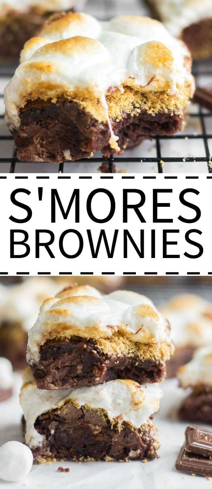 These chewy brownies are our best s'mores brownies recipe. Layered with Hershey's chocolate and graham cracker crumbs and topped with toasted marshmallows.