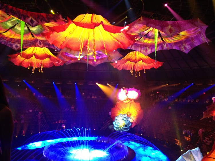 Although pictures aren't allowed during the performance, we were could snap this one at the end of enormous lighted flowers hovering over the circle of water.