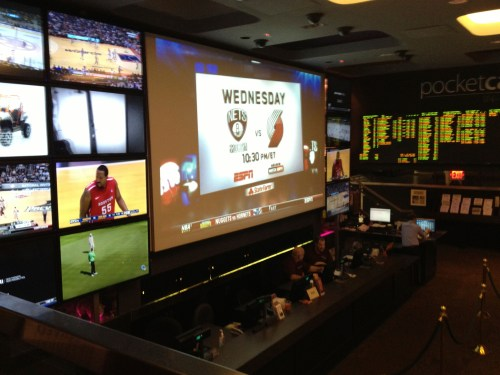 Massive screens at Lagasse's feature golf, basketball, horse racing.  You name it, they've got it!
