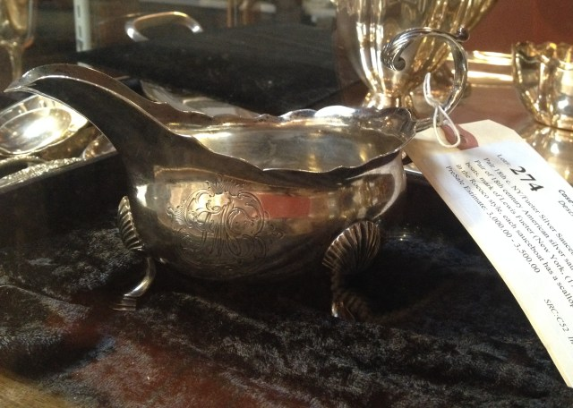 Silver sauce boat, one of a pair that sold for $37,000, at Case Antiques Auction in Knoxville