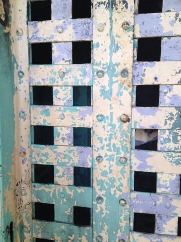 Detail of painted iron door
