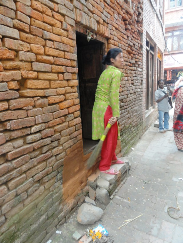 Woman on threshold in Bhaktapur