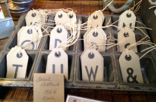 Letter tags from Coldstream Mkt, Knoxville