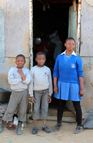 Three children in Lesotho