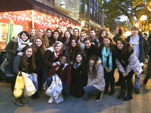 Students from Oak Ridge High and exchange students from France pose in Market Square