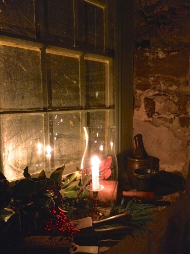 Candlelit window in Ramsey House