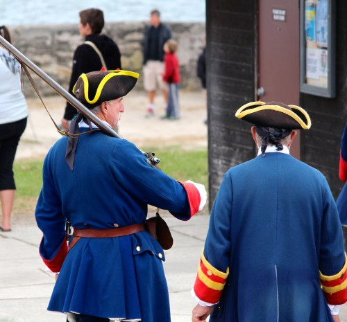 Colorful re-enactors at Castillo de San Marcos