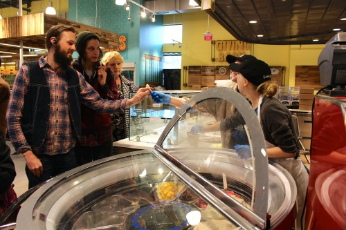 Getting a free sample of gelato from the new Whole Foods Knoxville.