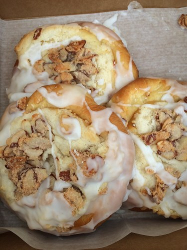 Grabbing the last three Toasty Almond Sweet Rolls from the VG's Bakery tent.