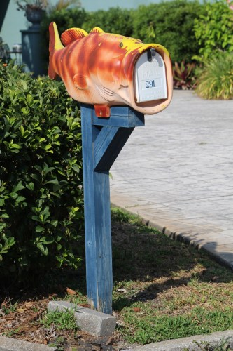 Wide-mouth bass enveloping a mailbox