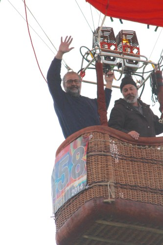 Waving to the crowd and crew at Albuquerque's Balloon Fiesta.