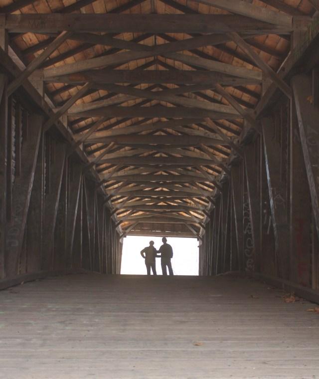 Below the ceiling of Humpback Bridge, oldest covered bridge in Virginia.