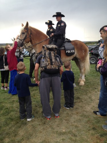 So approachable -- the police on horseback allowing children to meet and greet.