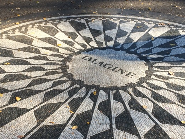 The focal point of Strawberry Fields memorial in Central Park.