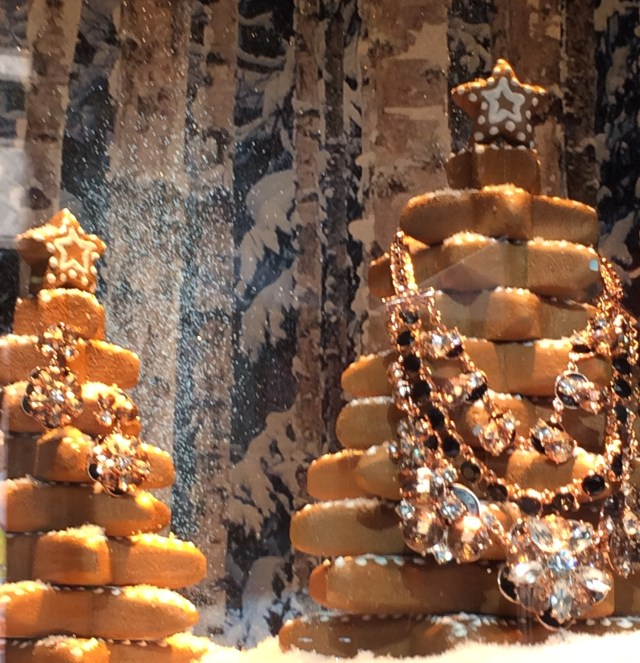 Gingerbread trees dripping with jewels -- the windows at Lord & Taylor, NCY.