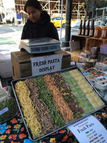 Fresh pasta at a sidewalk market, NYC