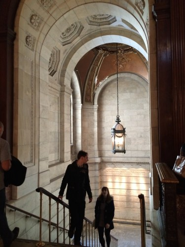 Marble stairwell, Stephan A. Schwarzman Building, New York Public Library