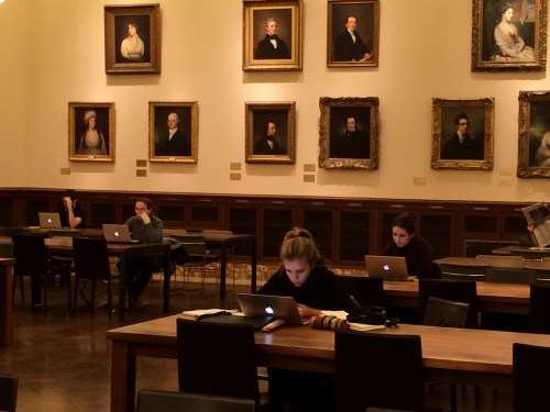 Filled with portraits: 2nd floor Reading Room, Schwarzman Building, New York Public Library