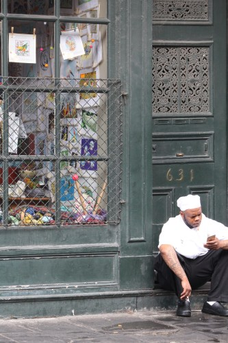 Checking for messages -- French Quarter, New Orleans